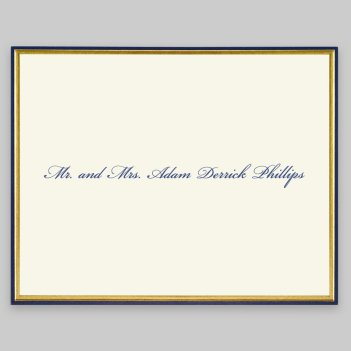 Gold and Navy Minuet Informal Note - Raised Ink