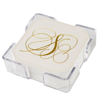Flourish Coaster - Gold Foil-Pressed with holder