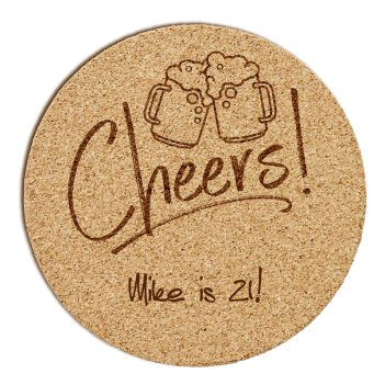 Beers and Cheers Cork Coaster