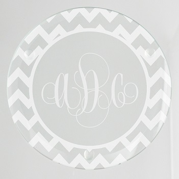 Reynosa Chevron Monogram Glass Coaster