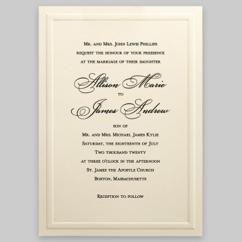 Almond Wedding Invitation Card - Raised Ink