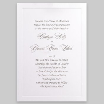 Knightsbridge Wedding Invitation Card - Raised Ink
