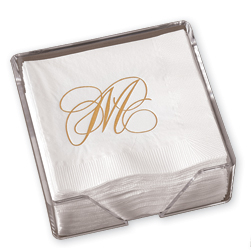 Gold Flourish Beverage Napkins with Holder