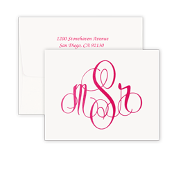 Elise Monogram Raised Ink Note - Double Thick