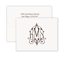 Whitlock Monogram Raised Ink Note - Double Thick