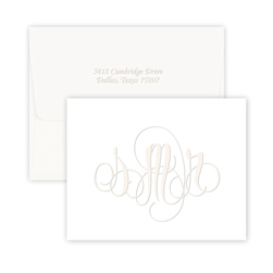 Firenze Monogram Note on Cotton Paper - Single Thick