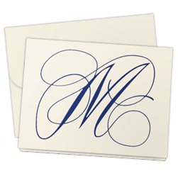 Navy Flourish Note - Single Thick